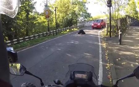 un motard sauve une femme qui tentait de se suicider au milieu de la route. Black Bedroom Furniture Sets. Home Design Ideas